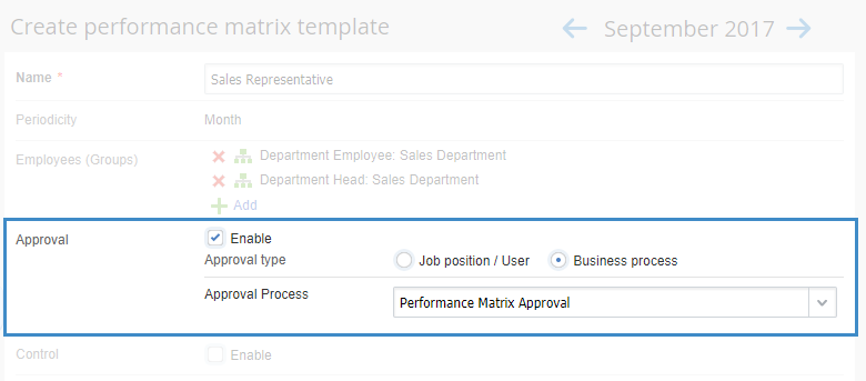 Performance Matrix Template Approval Unit
