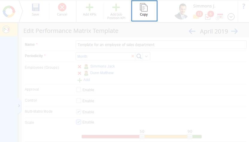 Managing a performance matrix template